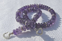 Amethyst Buttons with Silver Discs and Heart Clasp