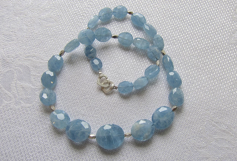 Faceted Graded Aquamarine Discs with Faceted Silver Beads and Silver Heart Clasp