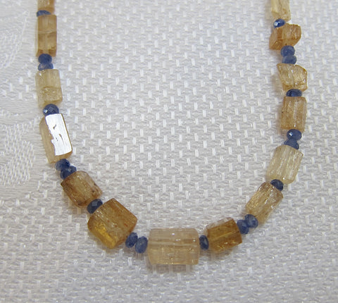 Faceted Brazilian Topaz with Faceted Sapphire Buttons necklace on Gold-plated Clasp