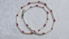 Freshwater Pearl with Faceted Ruby necklace on Silver Clasp