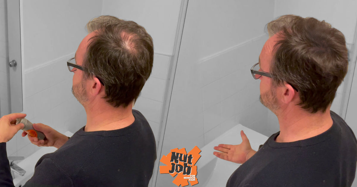 Cover up a bald spot with hair fibres