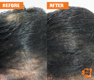 Nut Job Black Hair Fibres Before and After