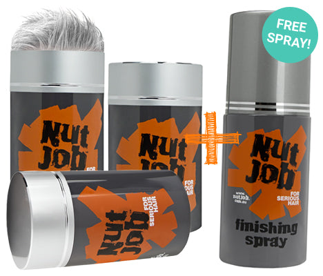 Nut Job Light Grey Hair Fibres and BONUS Fixing Spray Combo Pack - SAVE with a Bulk Buy!
