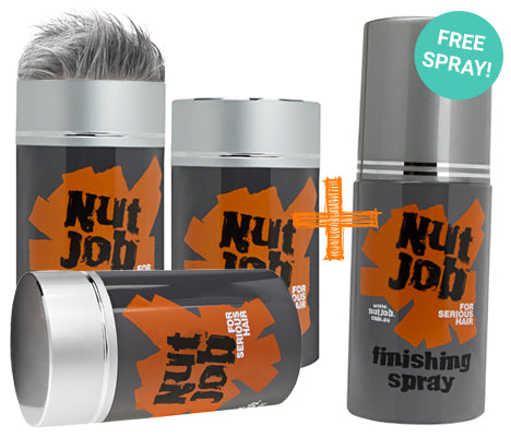 Nut Job Medium/Dark Grey Hair Fibres and BONUS Fixing Spray Combo Pack