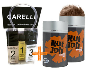 Nut Job Light Brown Hair Fibres and Carelli Travel Pack Combo