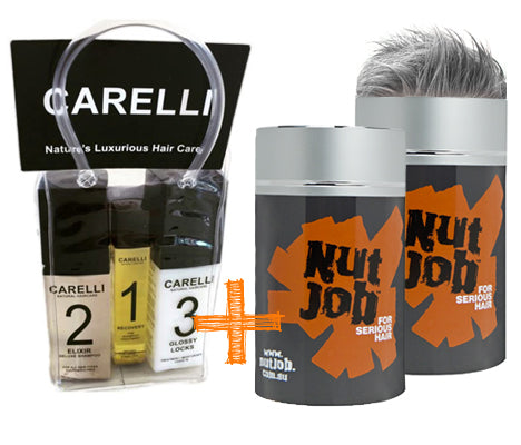 Nut Job Medium/Dark Grey Hair Fibres and Carelli Travel Pack Combo - SAVE when you buy in BULK!
