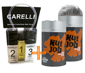 Nut Job Medium/Dark Grey Hair Fibres and Carelli Travel Pack Combo