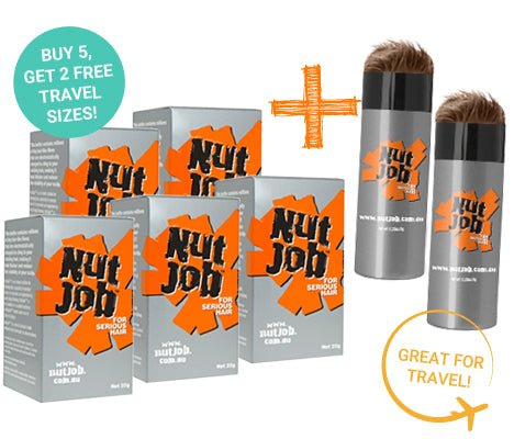 Nut Job Light Brown Hair Fibres plus Small Travel Size - Buy 5, Get 2 x Travel Size FREE!