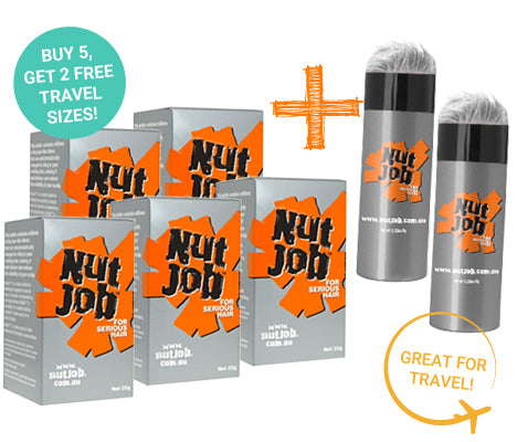 Nut Job Light Grey Hair Fibres plus Small Travel Size - Buy 5, Get 2 x Travel Size FREE!