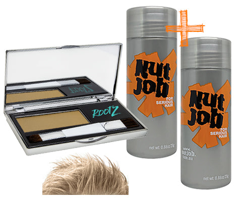 Men's Hair Loss cover up pack BLONDE. Hide balding crown with shake on or spray on fibres plus root powder. Bulk Buy