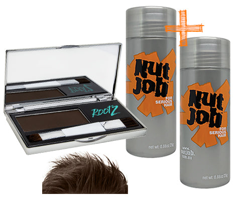 Nut Job Dark Brown Hair Fibres / RootZ Grey Root Concealer Combo Pack - Bulk Buy