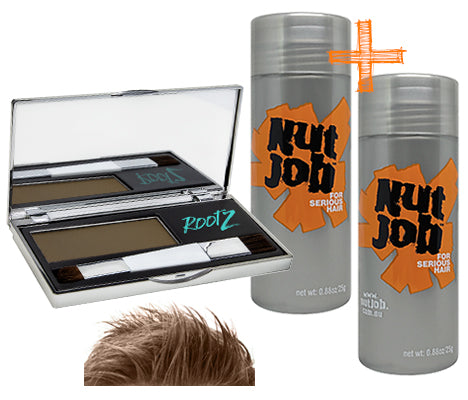 Men's Hair Loss cover up pack LIGHT BROWN. Hide balding crown with shake on fibres plus waterproof concealer. Bulk Buy.