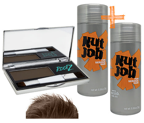 Nut Job Medium Brown Hair Fibres / RootZ Grey Root Concealer Combo Pack - Bulk Buy