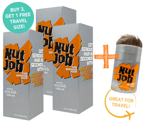 Nut Job Light Brown Hair Fibres plus Small Travel Size - Buy 3, Get Travel Size FREE!