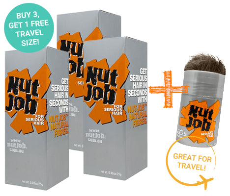Nut Job Medium Brown Hair Fibres plus Small Travel Size - Buy 3, Get Travel Size FREE!