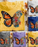 Yearnshoes Women Comfy Butterfly Printed T-shirts