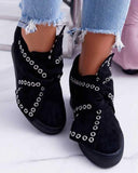 Yearnshoes Round Toe Faux Suede Wedge Heel Casual Tie Knot Sneakers