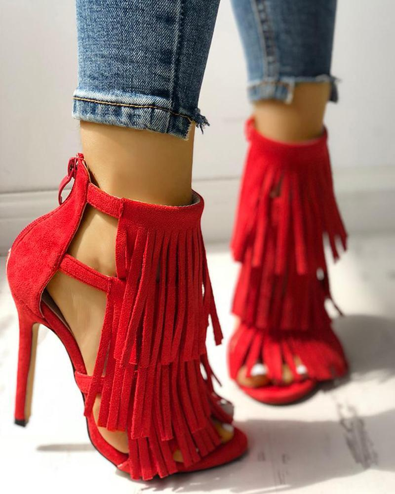 Yearnshoes Solid Color Tassel Stilettos Open Toe Back Zipper Strappy Sandals