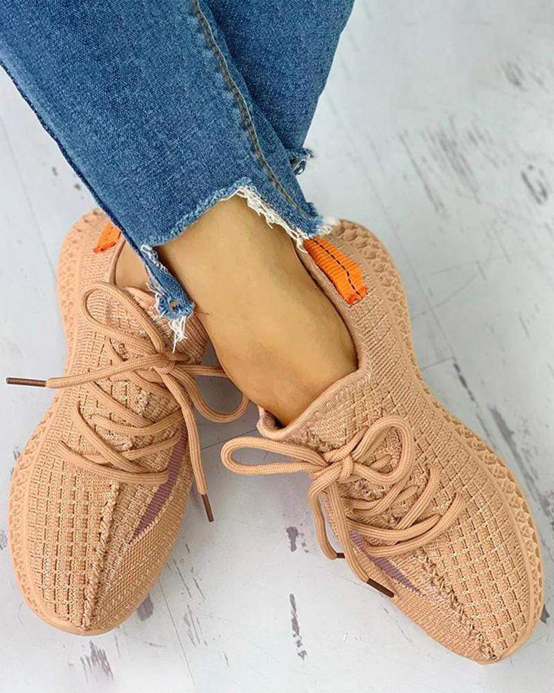 Yearnshoes Colorblock Breathable Lace-up Comfy Sneakers