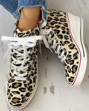Yearnshoes Leopard Lace-Up Wedges Classic Breathable Canvas Sneakers