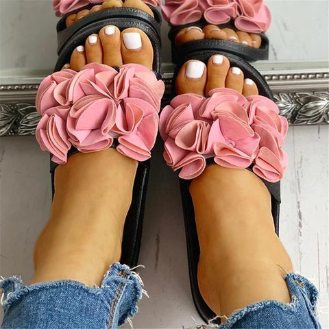 FarrGo Causal Slip On Floral Sandals Flat Slides
