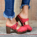 Yearnshoes Wood Heeled Clog Sandals Platform Slide-on Closed Toe Backless Faux Leather Summer Shoes with Buckle