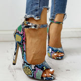 FarrGo Peep Toe Leopard Pumps Stilettos High Heels