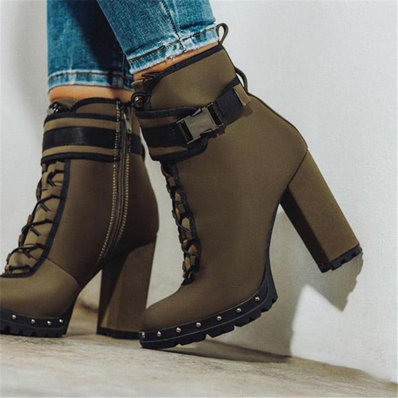 FarrGo Women Pointed Toe Heeled Ankle Boots