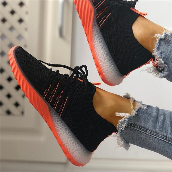 FarrGo Colorblock Knitted Breathable Lace-Up Sneakers