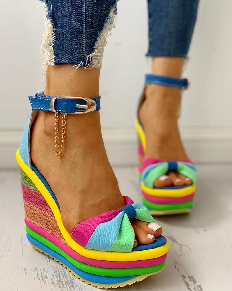 FarrGo Wedge Heels Ankle Strappy High Heel Rainbow Sandals