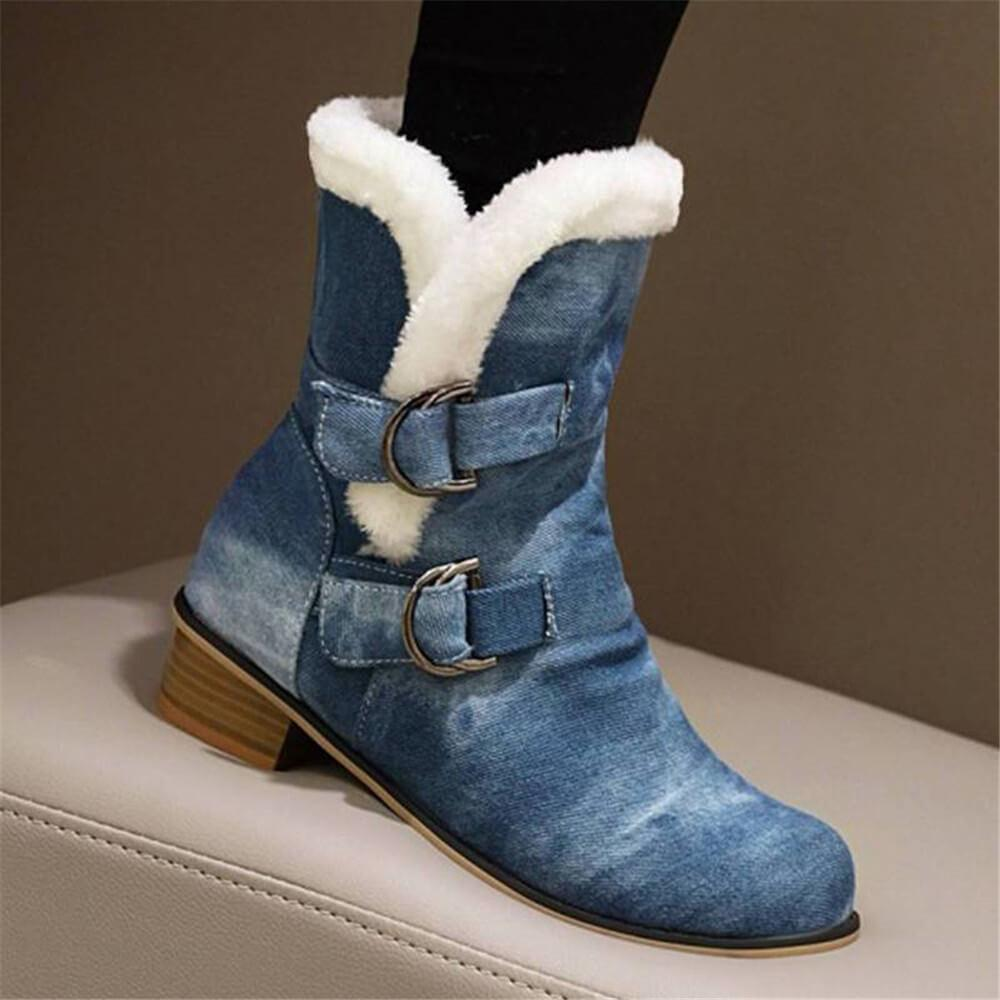 FarrGo Two Buckle Strap Fur Winter Mid-calf Boots