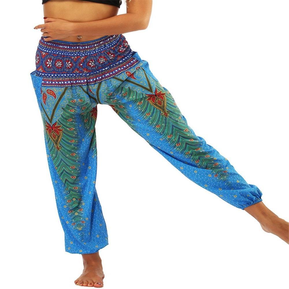 Yearnshoes Womens Thailand Silk Peacock Yoga Pants Colorful Printed Bloomers