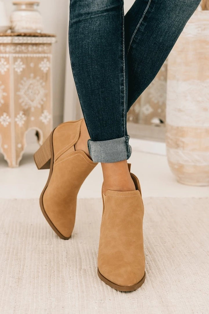 FarrGo Fall Cutout Ankle Boots Block Chunky Stacked Heel Booties