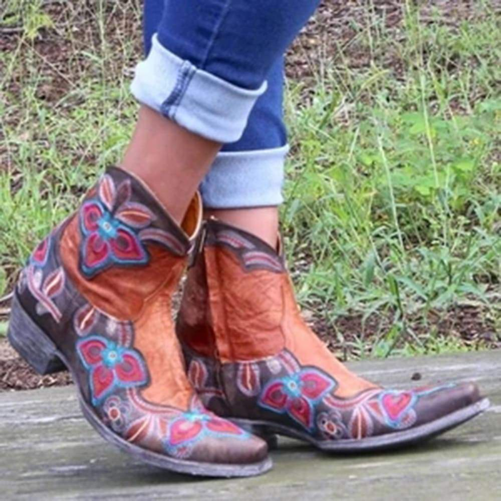 FarrGo Floral Embroidered Side Zipper Boots