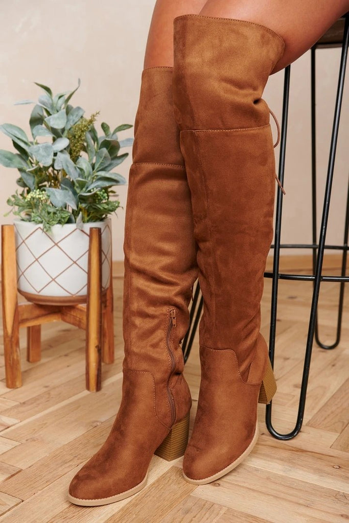 FarrGo Thigh High Fashion Boots Over The Knee Block Mid Heel Boots