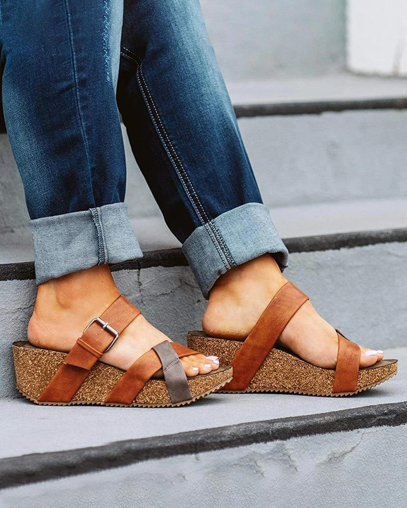 Yearnshoes Two-tone Criss-cross Strap Cork Wedges Buckled Strap Slip-on Sandals