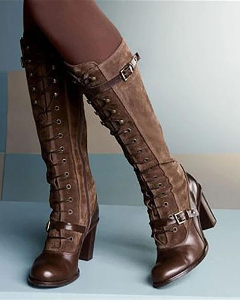 FarrGo Lace Up Buckle Strap Mid-calf Boots Stylish Knee High Boots