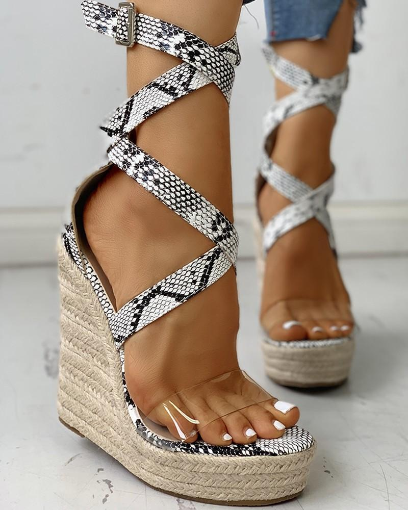 Yearnshoes Snakskin Print Strap High Heel Wedges Open Toe Coss Strap Platform Sandals