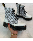 FarrGo Platform Boots Lace-up Side Zipper Letter Checked Pattern Boots