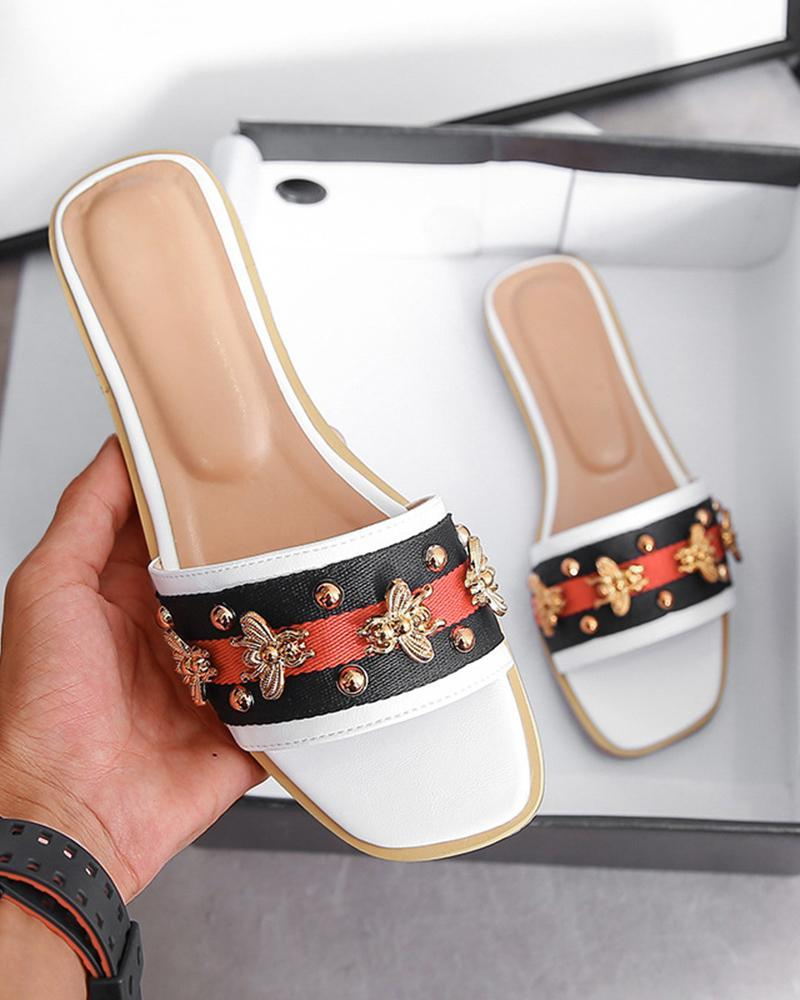Yearnshoes Bees Embellished Striped Square Open Toe Sandals Studded Slides