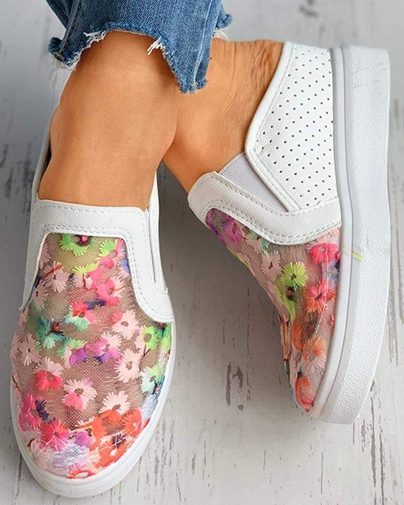 FarrGo Colorful Floral Breathable Mesh Loafers