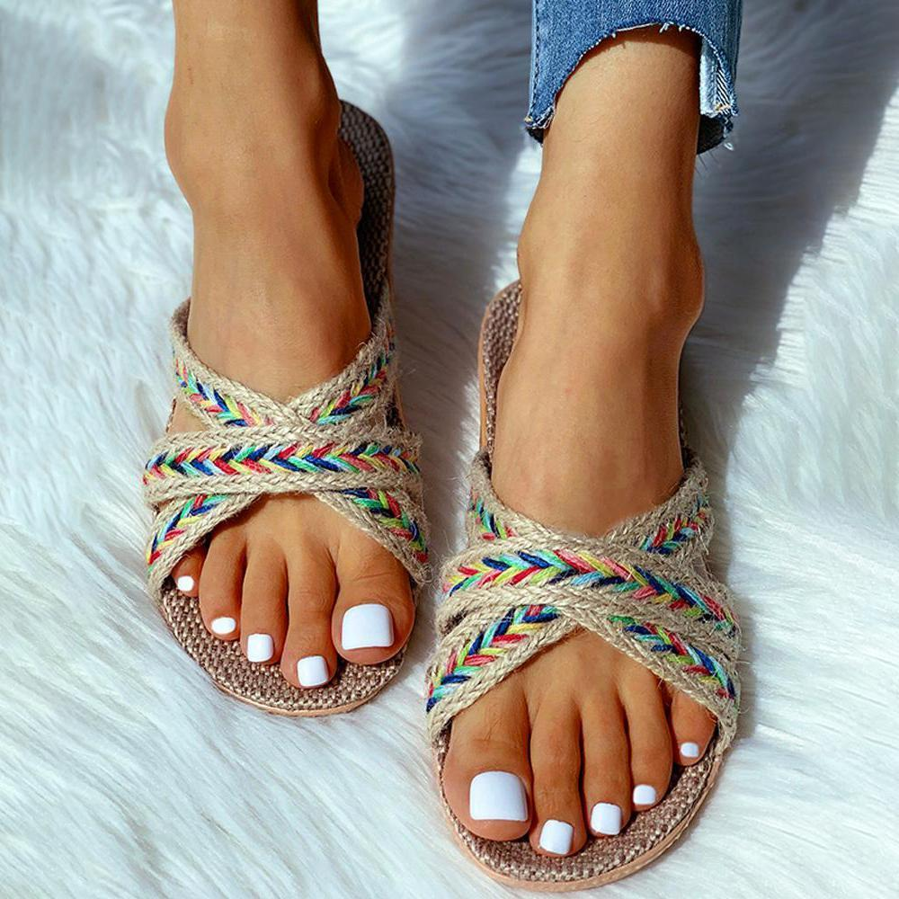 Yearnshoes Casual Braided Comfy Slip On Outdoor Sandals