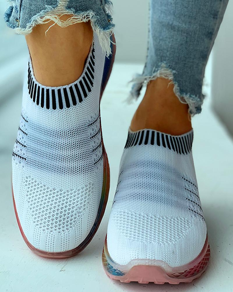 Yearnshoes Colorful Striped Breathable Laceless Slip-on Sneakers