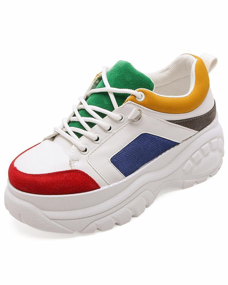 FarrGo Colourblock Elastic Sole Platform Sneakers
