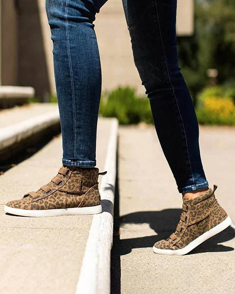 FarrGo Women's Velcro High Top Loafers Casual Espadrille