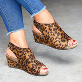 Yearnshoes Womens Peep Toe Leopard Wedge Sandals