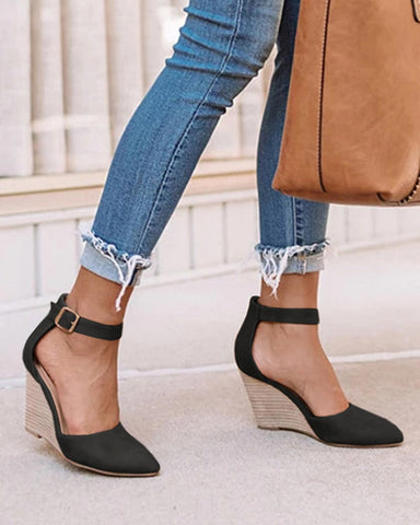 Yearnshoes Pointed Toe Wedge Pumps Ankle Strap Heels