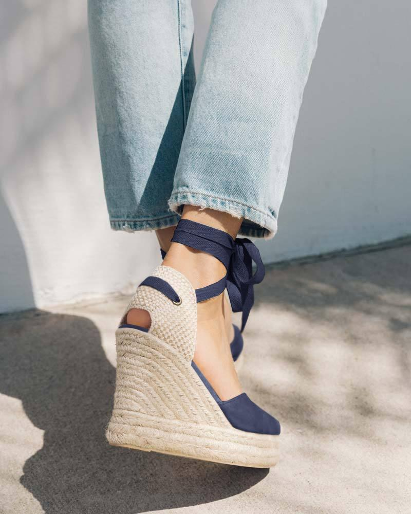 FarrGo Soft Ankle-Tie Lace up Espadrilles Wedges Closed Braid Toe Sandals