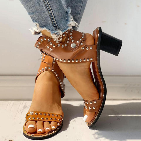 FarrGo Open Toe Rivet Chunky Heeled Sandals
