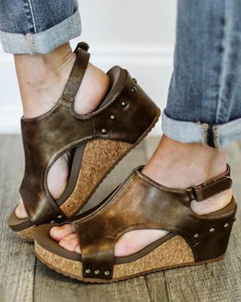 Yearnshoes Studed Velcro Ankle Strap Cork Heel Wedges Cut Out Slingback Open Toe Sandals